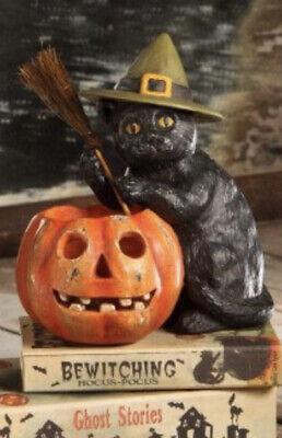 Bethany Lowe Halloween Black Cat W/JOL-Votive Included-retired