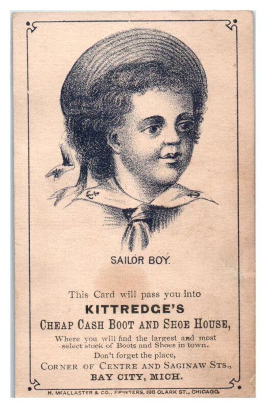 Sailor Boy, Kittredge Boot & Shoe House, Bay City, MI Victorian Trade Card *VT17