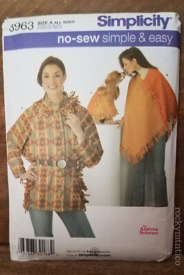 NO SEW SIMPLE & EASY JACKET/PONCHO PATTERN~UNCUT~SIMPLICITY 3963~MATCHING 4 DOG