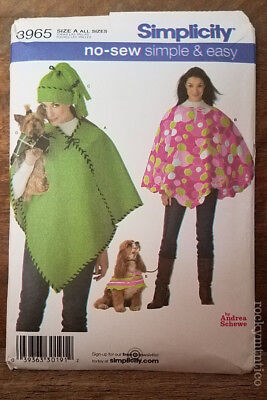 NO SEW SIMPLE & EASY JACKET/PONCHO PATTERN~UNCUT~SIMPLICITY 3965~MATCHING 4 DOG