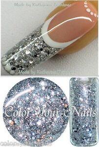 Neuheit: 5ml Pailetten-Glittergel Silber (222),kein Aufrühren.