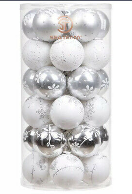 Luxury Christmas Tree Baubles Silver White Snowflake Ornaments 6cm 30 Pieces ()