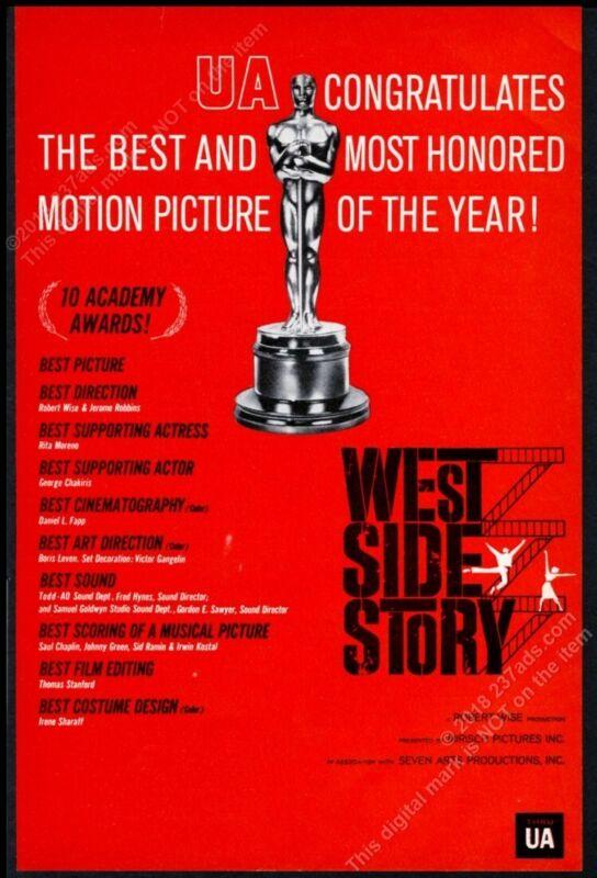 1962 West Side Story movie Academy Award list scarce trade print ad