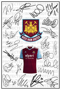 West Ham United Signed Squad Team Autograph 2013/2014 WHU Kevin Nolan Mark Noble