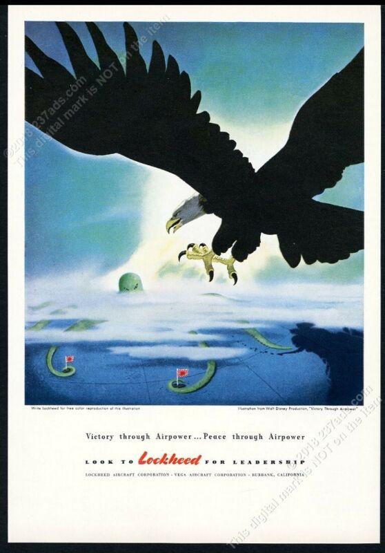 1944 Walt Disney evil Japanese octopus vs bald eagle art Lockheed WWII print ad
