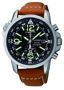 Mens Black Seiko Chronograph Watch