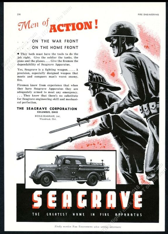 1943 Seagrave fire engine truck photo fireman soldier art vintage trade print ad