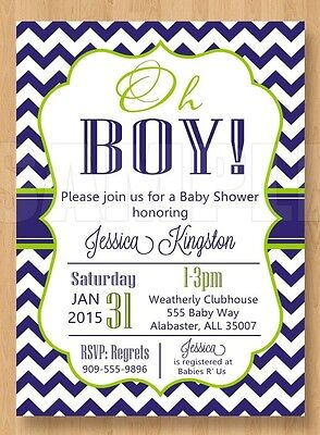10 Sweet Navy Blue and Green Oh Boy Baby Shower Invitations Cute Chevron Unique  (Green And Blue Baby Shower)
