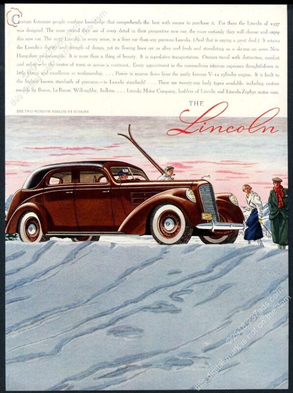 1937 Lincoln V-12 Berline Judkins sedan car skiing skier art vintage print ad