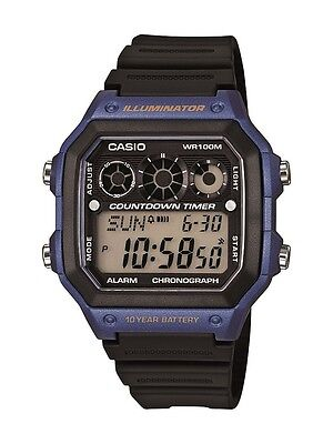 Mens Watches - Casio Men's AE1300WH-2AV Illuminator Digital Watch with Black Resin Band