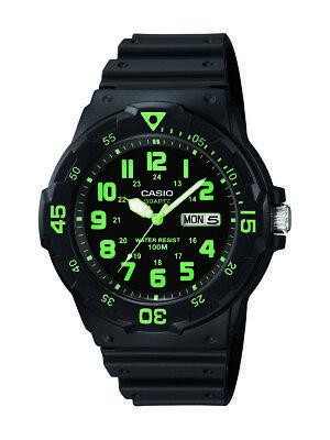 Casio Men's Quartz 'Dive Style' Green Index Black Resin 45mm Watch MRW200H-3BV Casio Sports Dive Watch