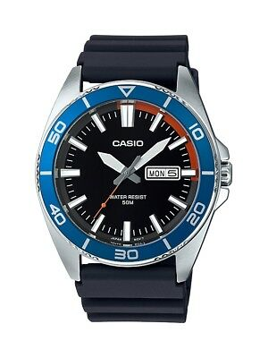 Casio Men's Quartz Diver Blue Bezel Black Resin Band 43mm Watch MTD120-1A