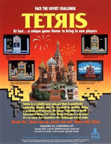 Tetris Arcade FLYER Atari Classic Retro Original 1988 NOS Video Game Artwork