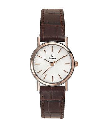 Купить Bulova - Bulova Women's 98V31 Quartz White Dial Brown Leather Strap 25mm Watch