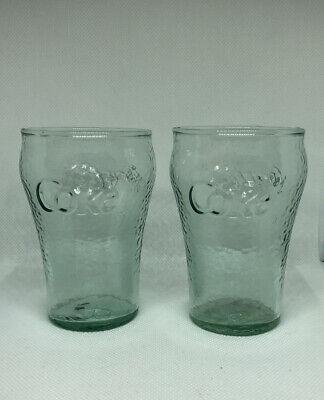 "(2) Vintage Green Glass Coca Cola Coke Glasses 4"" Mini Glasses"
