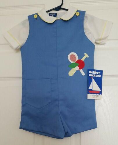 NWT ROBERT JACKSON Toddler Boys Light Blue Shortall 2 Piece Outfit Size 4T