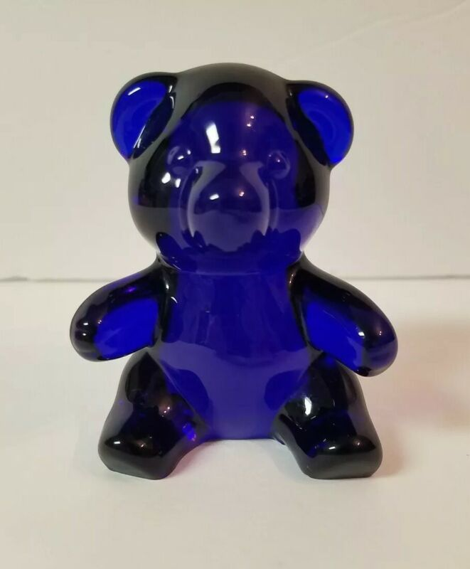 Oneida 24% Lead Crystal Cobalt Blue Glass Bear Hand Cut & Blown VTG 80s Sticker