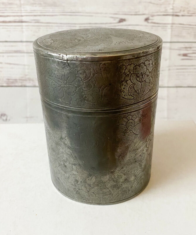 Early 1900's China Swatow Kut Hing Pewter Tea Caddy Original Antique Chinese