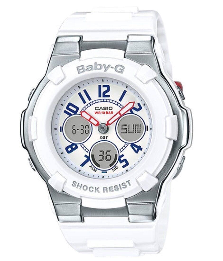 Casio Baby-G * BGA110TR-7B Chaton Slim Marine Tricolor White Women COD PayPal