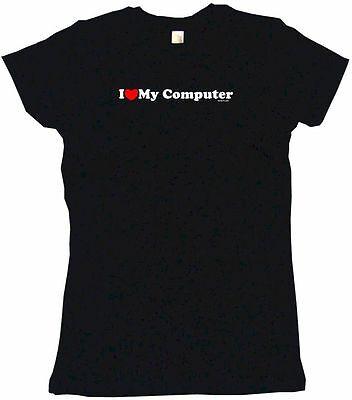 I Heart Love My Computer Womens Tee Shirt Pick Size Color Petite Regular
