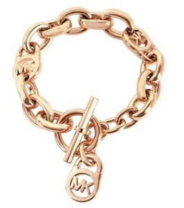 NWT!! $115 MICHAEL KORS Heritage Rose Gold-Tone Logo Lock Link Chain Bracelet