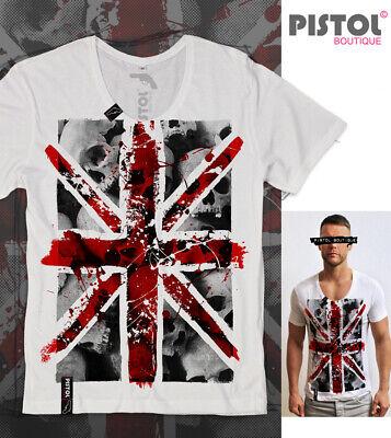 Union Jack Pistolen (Pistol Boutique Herren Weiß Rundhals Union Jack Totenköpfe Flag Mode T-Shirt)