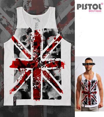 Union Jack Pistolen (Pistol Boutique mens White Graffiti Skulls Union Jack splats singlet Vest Tank)