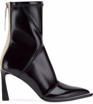Fendi FFrame Black Patent Neoprene Stretch Pointed Logo Sock Ankle Heel Boot 36
