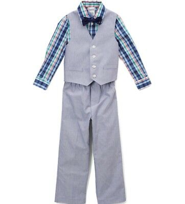 Boys IZOD suit outfit 4 5 6 7 NWT Easter dress shirt pants bow tie blue plaid - Boys Easter Clothes