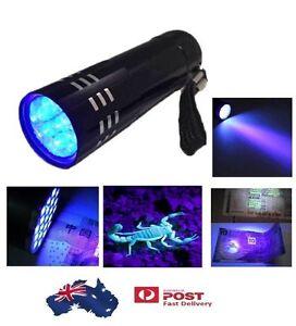 Mini Aluminum UV ULTRA VIOLET 9 LED FLASHLIGHT BLACKLIGHT Torch Light Lamp
