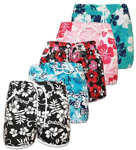 BNWT-LADIES-GIRL-FLORAL-FLOWER-PRINT-HOT-PANTS-SWIM-BEACH-BOARD-SUMMER-SHORTS-UK