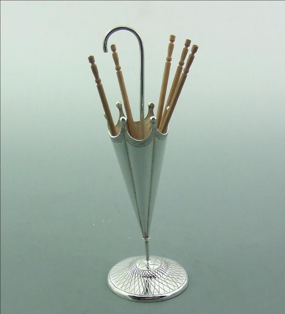 ANTIQUE CHINESE EXPORT SILVER NOVELTY COCKTAIL STICK / TOOTH PICK HOLDER
