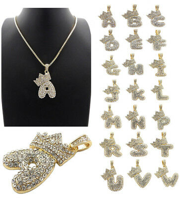 NEW INITIAL LETTER KING CROWN BUBBLE PENDANT 2mm BOX CHAIN NECKLACES