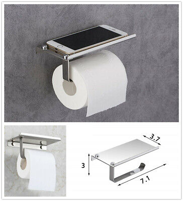 Toilet Paper Holder with Mobile Phone Storage Shelf Holders Wall Mounted Rack (Mounted Toilet Paper)