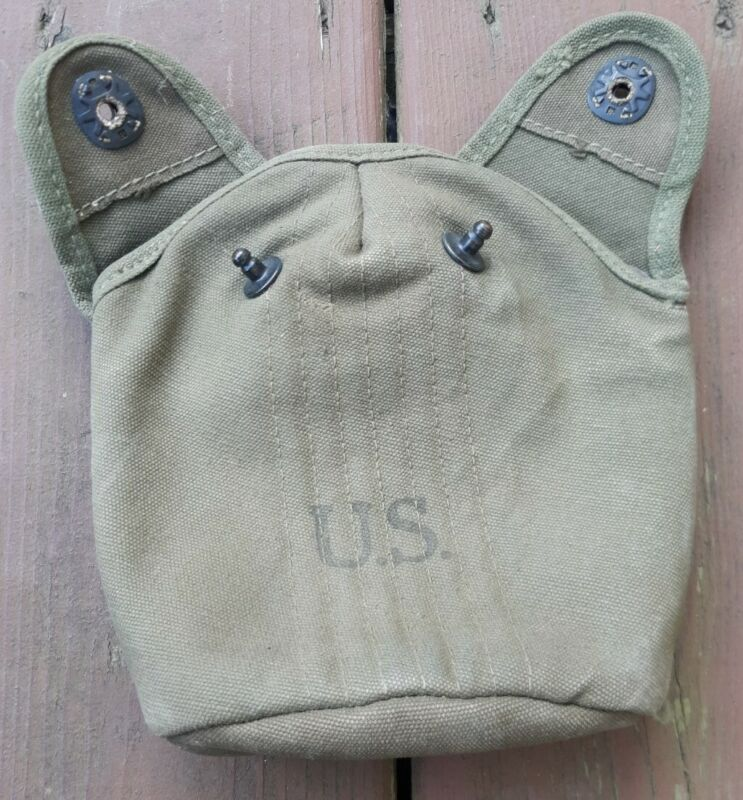 Original Korea Era US Army Military Issue M1910 Canteen Cover 1952 Dated