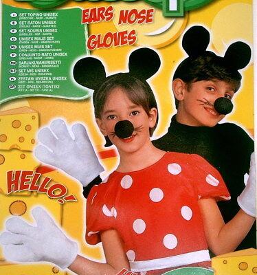 Maus Kinder Kostüm Set Ohren Nase Handschuhe Deko Mauskostüm Fasching - Maus Kostüm Nase