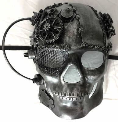 Skull Mask Cosplay Horror Halloween Sci Fi Steampunk Gear Rebel Costume Silver