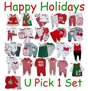 XMAS-HOLIDAY-OUTFIT-BABY-GIRLS-BOYS-SET-BODYSUIT-ONESIE-SLEEPER-CHILDREN-CLOTHES