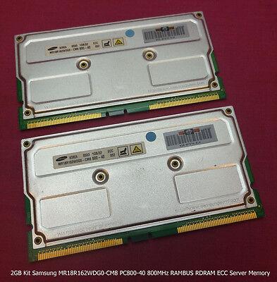 2GB Kit Samsung MR18R162WDG0-CM8 PC800-40 800MHz RAMBUS RDRAM ECC Server Memory