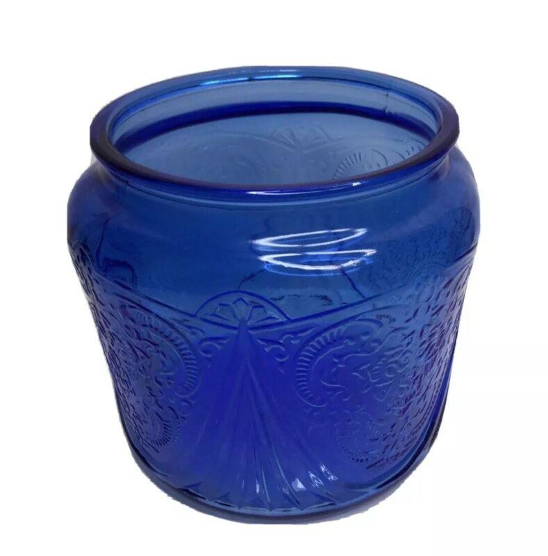 Hazel Atlas Cobalt Royal Lace Cookie Jar without Lid
