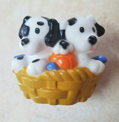 Little People Two Spotted PUPPIES in a Basket, Dogs, Dalmatians, Pets, Animals