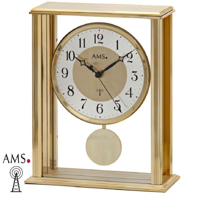 AMS 5191 Funk Tischuhr Pendeluhr Metallgehäuse Tischuhr Funkuhr Uhr
