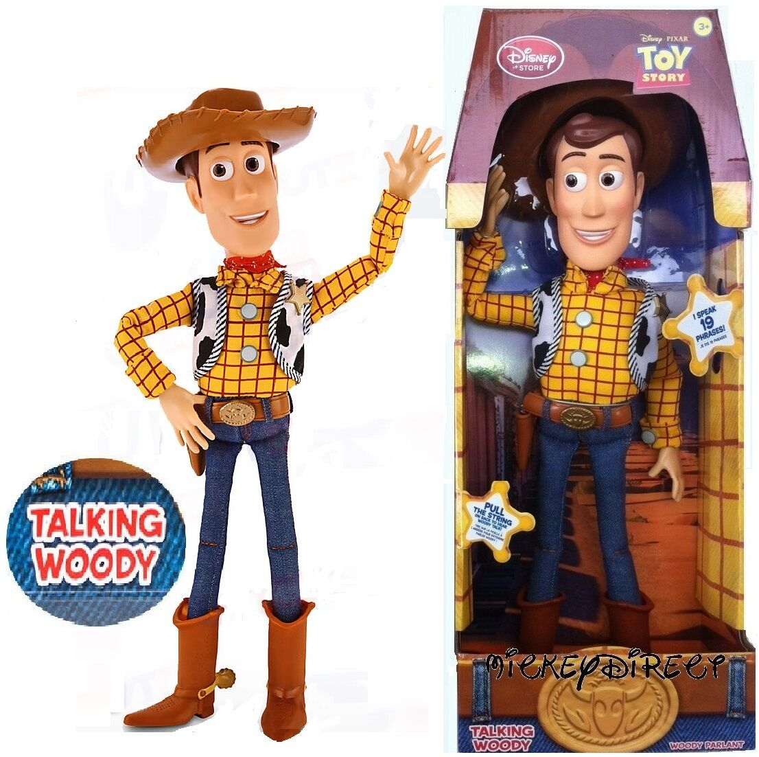 Authentic DISNEY STORE PULL STRING TOY STORY COWBOY WOODY Talking ... df9e082b42b
