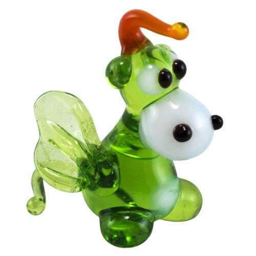 Miniature Tiny Lampwork Hand Blown Glass Green Dragon Figurine New!