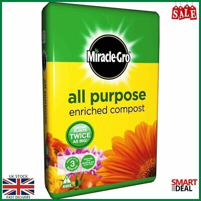 Miracle Gro All Purpose Enriched Growing Compost 20L With Plant Food Garden Home