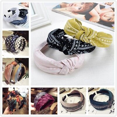 Women Girls Sweet Bowknot Cross Knot Wide Solid Headband Boho Hairband Accessory