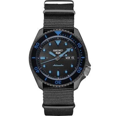 New Seiko 5 Automatic Black Dial Black Nylon Strap Men's Watch SRPD81