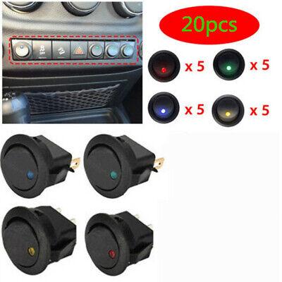 20 Pcs 4 Color Rocker Switch Toggle 12v Led Light Car Auto Boat Round Onoff