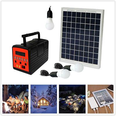 Emergency Solar Generator Lighting System Kit 12V 10W with Solar Panel USB Lamps