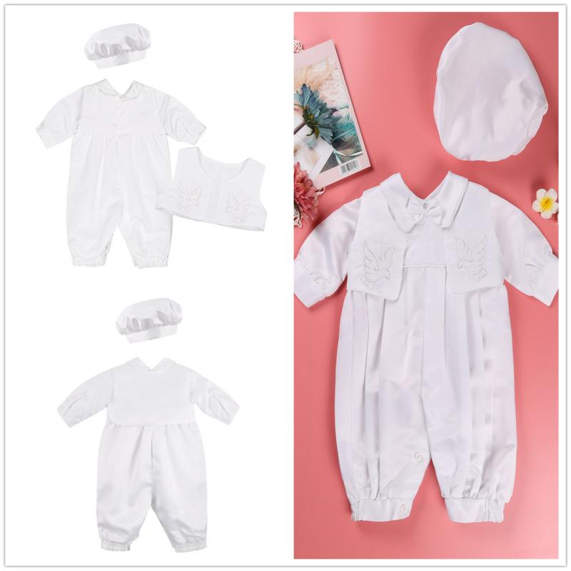 5668d169d Details about Baptism Infant Baby Boys White Christening Romper Outfit Suit  Cap Set Clothes